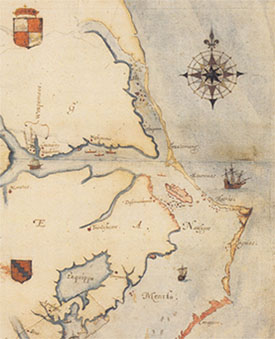Map by John White. Virginea Pars. 1585.