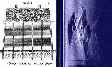 This drawing (above left) shows the basic construction of an ice pier. A wooden crib is filled with stone and faced with cut rock.  The side scan image (above  right) shows  a sonar image of a diamond shaped ice pier that was destroyed in 1927.  Divers located its remains and confirmed the presence of timbers and stone.