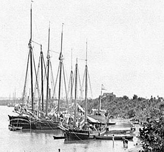 Supply Vessels looking downriver , 1862.